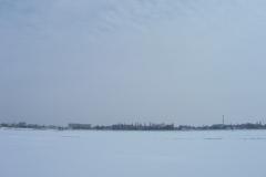 Вид с замёршего моря на Приморско-ахтарск